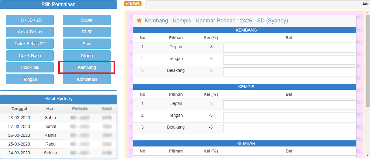 Tampilan bettingan versi web